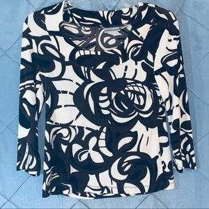 Chicos travelers 0 abstract 3/4 Sleeve tops mall